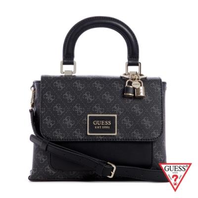 GUESS-女包-拼接復古LOGO金屬鎖飾手提包-黑 原價2890