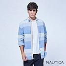 Nautica修身格條紋長袖襯衫-水藍色