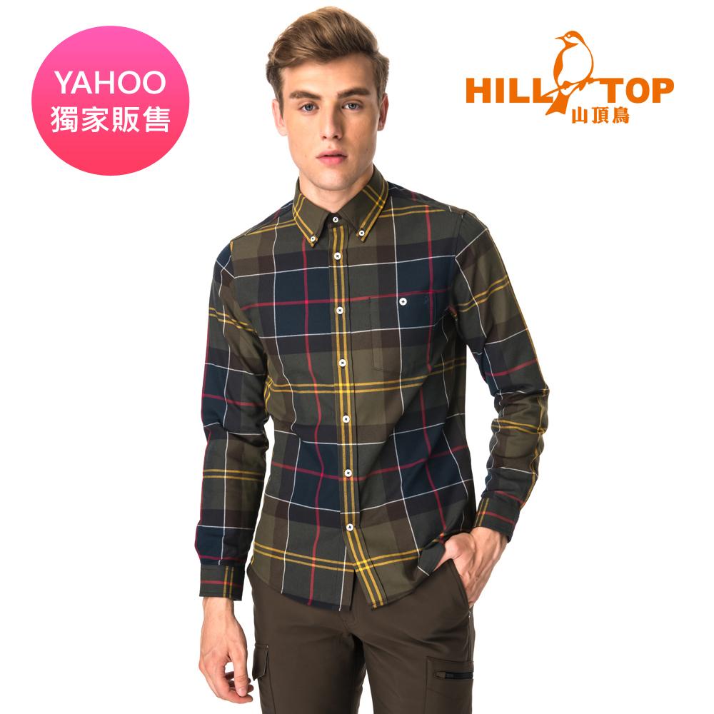 【hilltop山頂鳥】男款ThermoTech保暖長袖襯衫C05M23青綠格紋