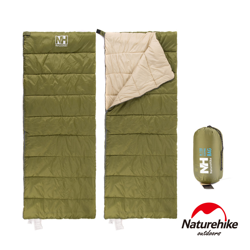 Naturehike H150春夏款輕薄透氣便攜式信封睡袋 軍綠-急
