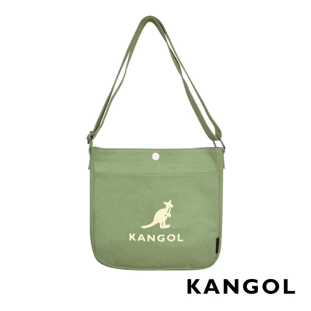 KANGOL 韓版玩色-帆布斜背文青小書包-草綠 AKG1213-15
