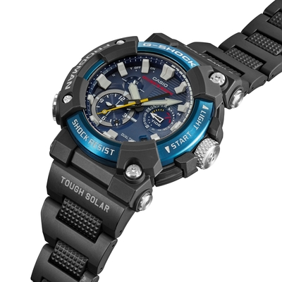 CASIO卡西歐 G-SHOCK 電波 藍牙 太陽能電力 蛙人錶 複合式錶帶 潛水級防水 GWF-A1000C-1A_53.3mm