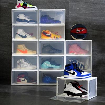 木暉 高硬度特大磁吸式側開鞋盒收納盒中款-6入(男生45-47碼輕鬆放)