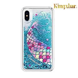 Kingxbar iPhone XR(6.1吋)施華洛世奇彩鑽流沙保護殼-美人魚