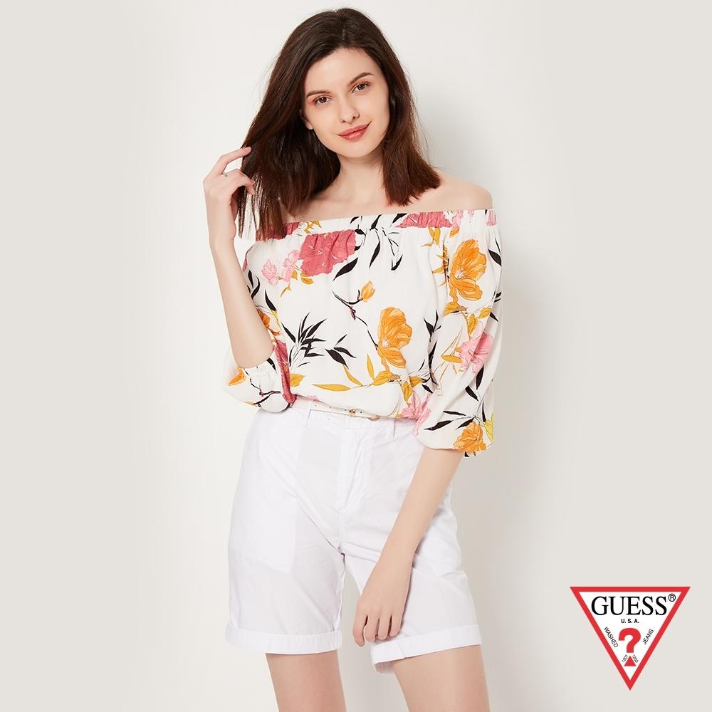 GUESS-女裝-印花平口長袖上衣-白