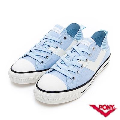 【PONY】Shooter懶人後跟低筒帆布鞋 懶人鞋 小白鞋 滑板鞋-女-淺藍