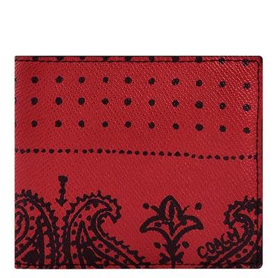COACH 紅色印花圖樣PVC雙摺十一卡短夾