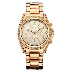 HANNAH MARTIN  流金歲月水鑽不鏽鋼腕錶(HM-1107-J)金x40mm