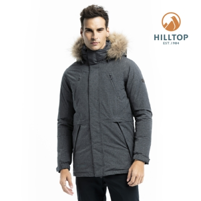 【hilltop山頂鳥】男款防水透氣保暖蓄熱羽絨長大衣PF21XM55ECA0魚子醬黑
