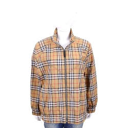 BURBERRY Vintage 中性版格紋哈靈頓夾克(古典黃)