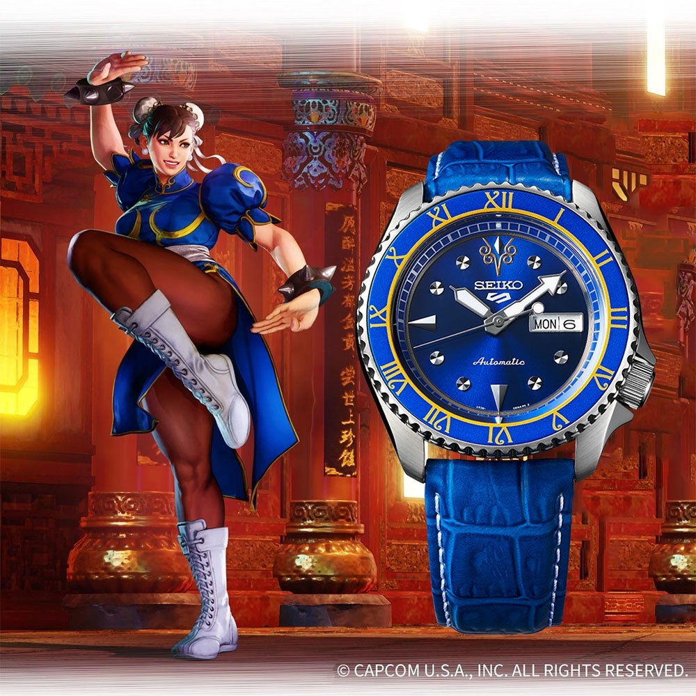 SEIKO 精工 5 Sports x 快打旋風 春麗 聯名限量機械錶(SRPF17K1)-42.5mm