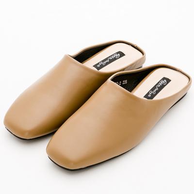 River&Moon簡單生活素面方頭平底穆勒鞋*棕