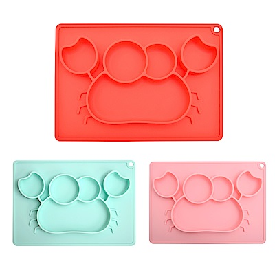 EXPECT兒童螃蟹造型矽膠餐盤2入組-顏色隨機