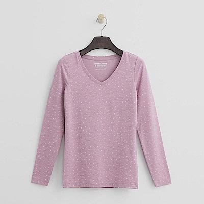 Hang Ten - 女裝-ThermoContro恆溫多功能智慧暖溫V領上衣-粉紫
