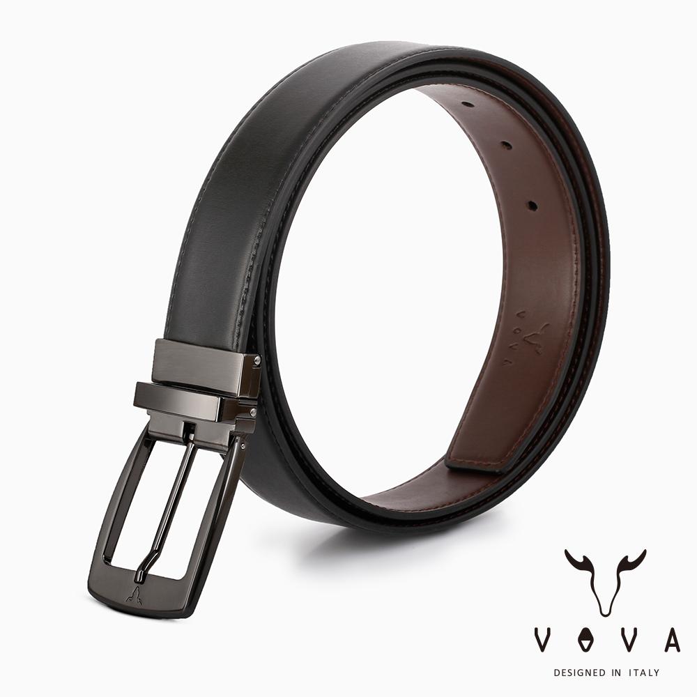 VOVA - 休閒紳士穿針式髮絲紋皮帶 - 鎗色