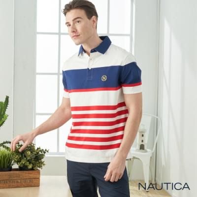 Nautica經典撞色條紋短袖POLO衫-紅白