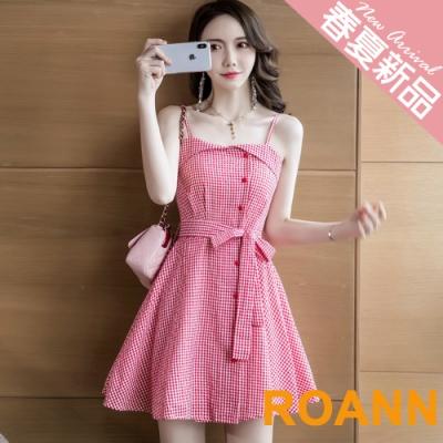 甜美細格紋細肩帶A字洋裝 (紅色)-ROANN