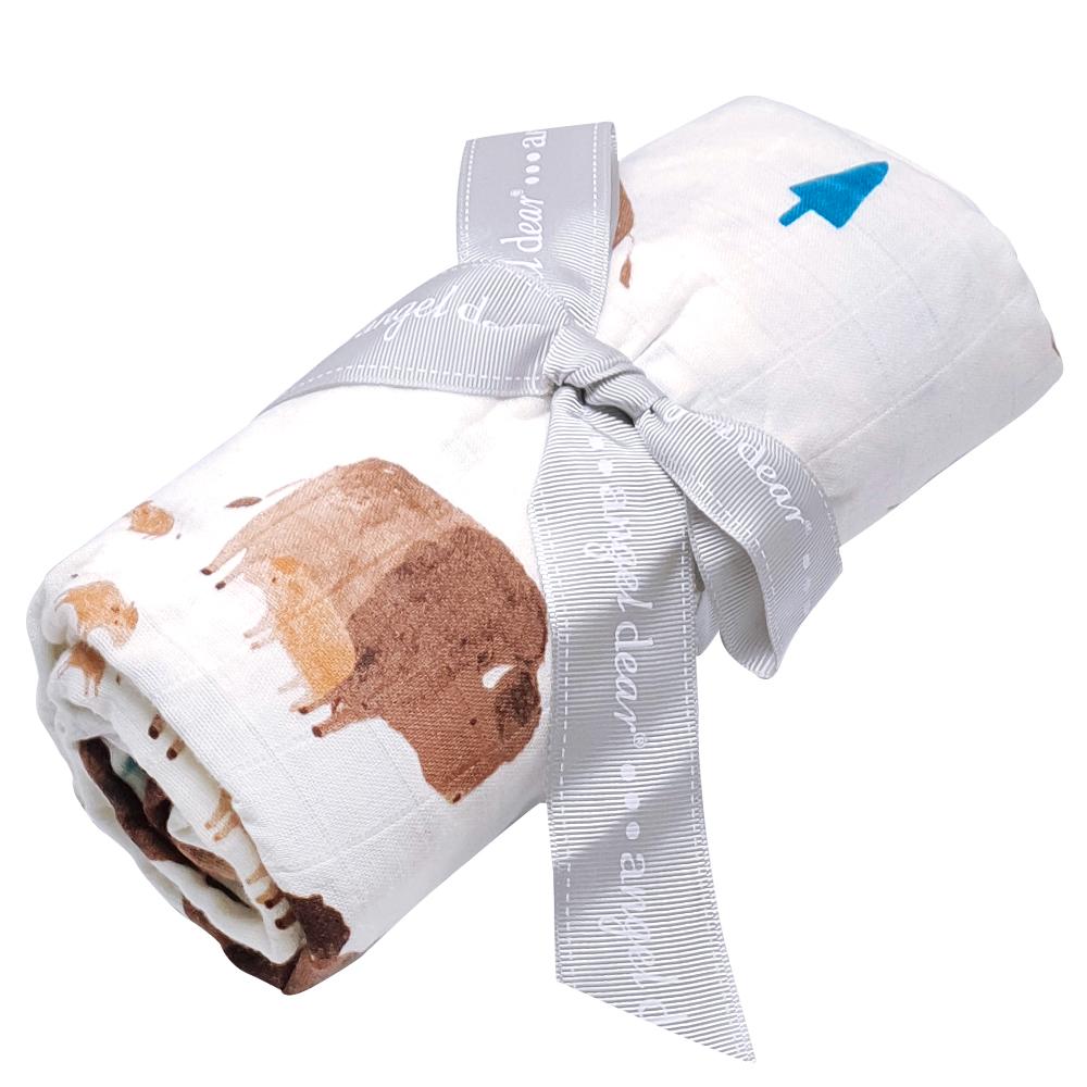 美國 Angel Dear 竹纖維嬰幼兒包巾禮盒 (小水牛)