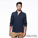 Nautica經典款素色休閒長袖POLO衫-深藍