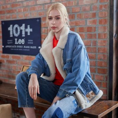 Lee 羊羔絨牛仔外套 101+ 女款 中淺藍