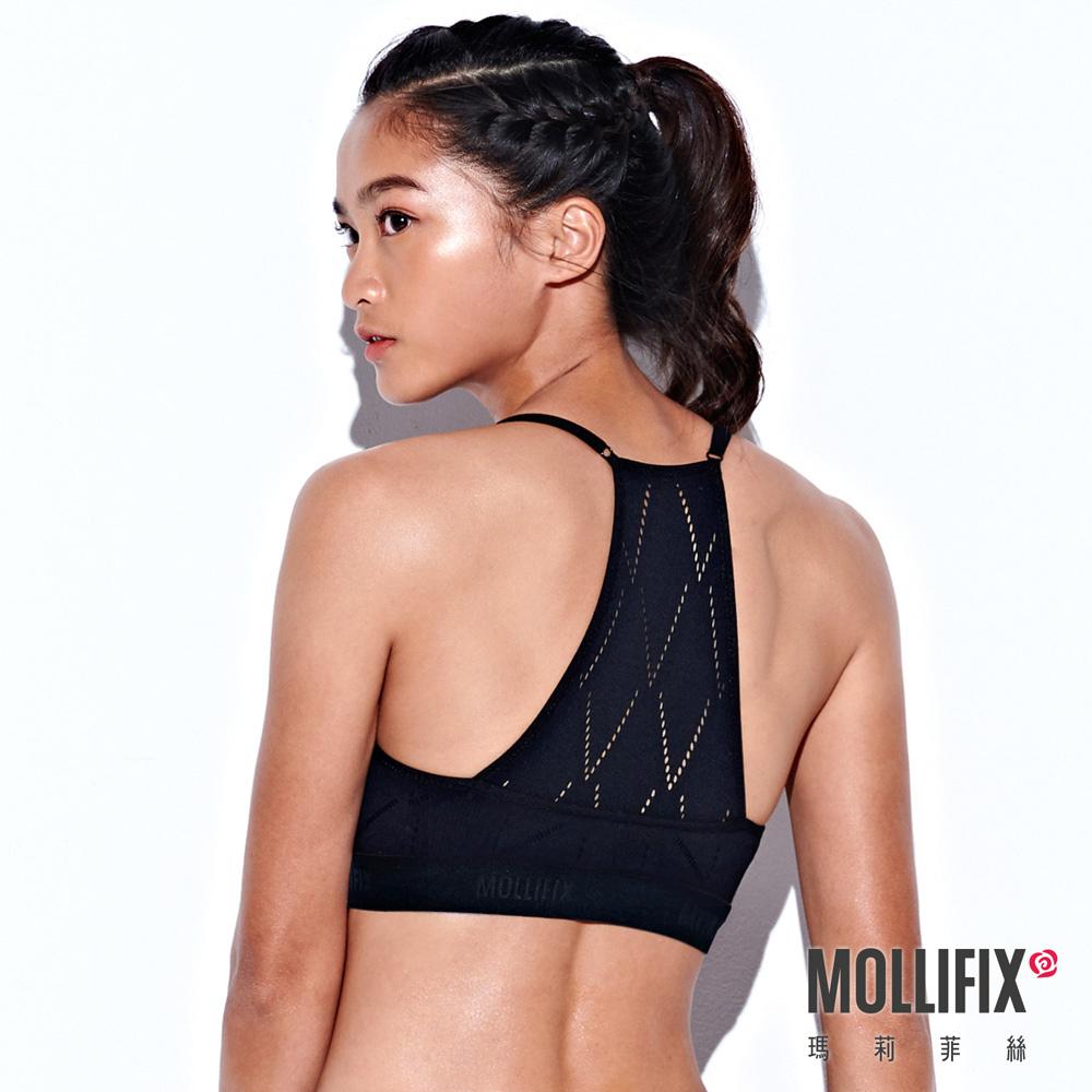 Mollifix 瑪莉菲絲 A++梯背LOGO織帶舒心BRA (黑)