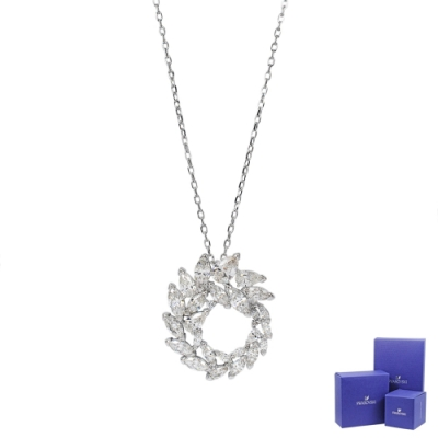SWAROVSKI 施華洛世奇 LOUISON冬季之葉水晶銀色項鍊