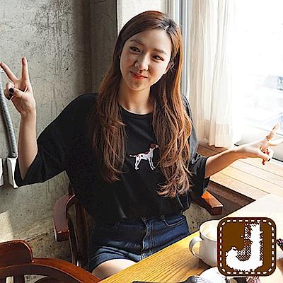 正韓 刺繡獵犬垂肩袖寬版T恤-(共五色)100%Korea Jeans