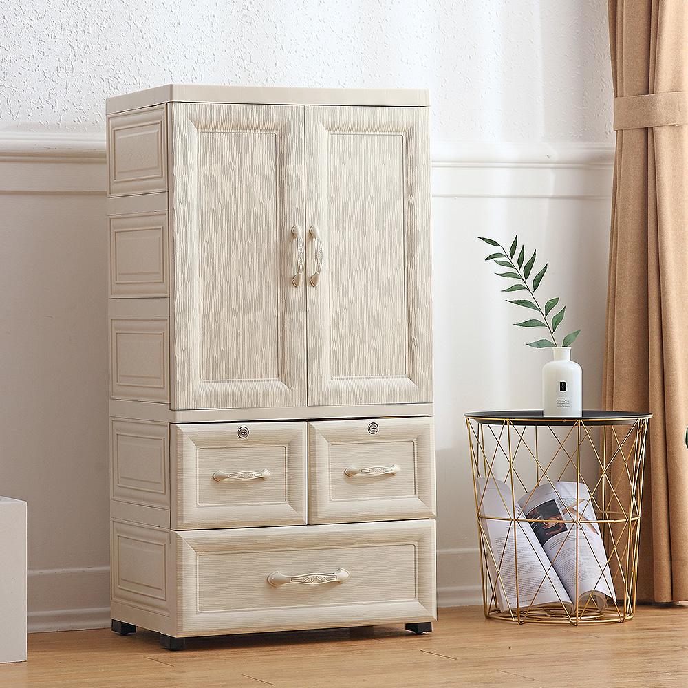 【Mr.box】鄉村風歐式雙開門兒童吊掛衣櫃(2小+1大抽屜) @ Y!購物