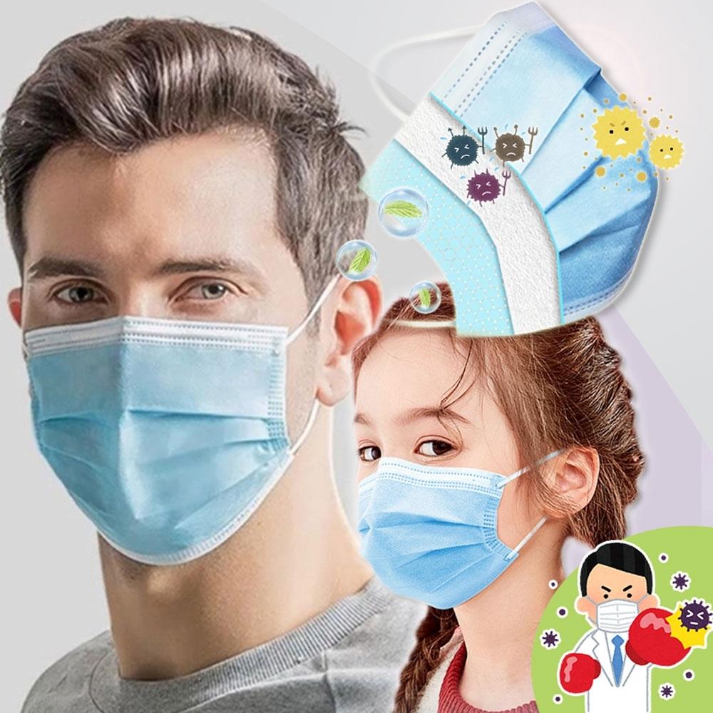 頂級熔噴布三層防護清淨口罩-大人/兒童款(2包100片)