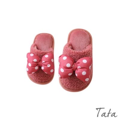 童裝 點點大蝴蝶結羊羔毛拖鞋 共二色 TATA KIDS