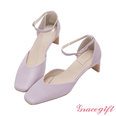 Grace gift-方頭繫踝扁跟鞋 紫