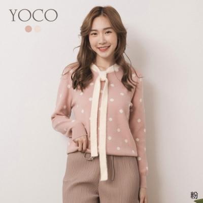 東京著衣-YOCO 學院美女滿版圓點蝴蝶結領針織上衣(共二色)