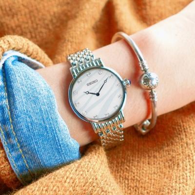 SEIKO 精工 愛情海 施華洛世奇 珍珠母貝 不鏽鋼手錶-白藍色/29mm
