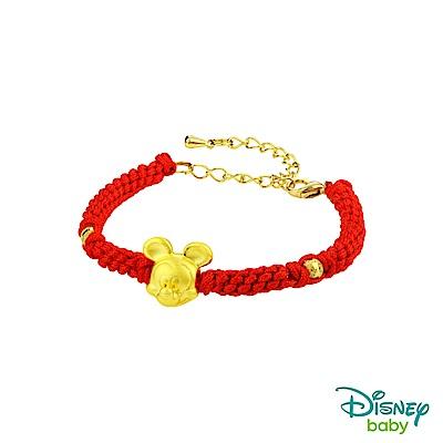 Disney迪士尼金飾 黃金編織手鍊-平安結米奇款-鮮紅