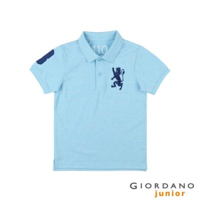 GIORDANO   童裝勝利獅王漸層刺繡彈力萊卡POLO衫 - 71 雪花海水藍