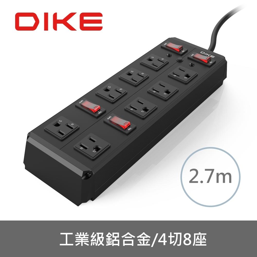 DIKE 工業級鋁合金四開八座電源延長線-2.7M DAH389BK