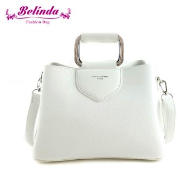 【Belinda】安卡拉簡約方型鐵環手提側背包(白色)