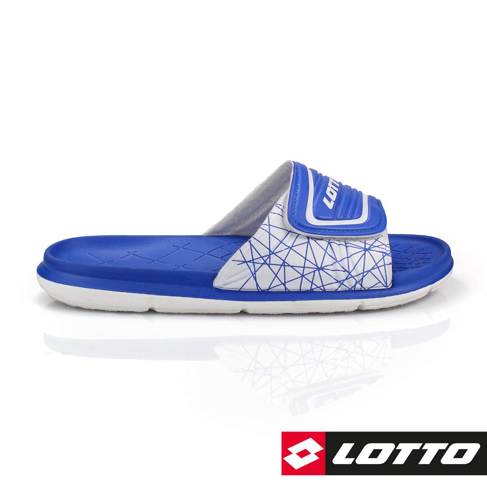 LOTTO 義大利 男 足球風運動拖鞋 (藍)