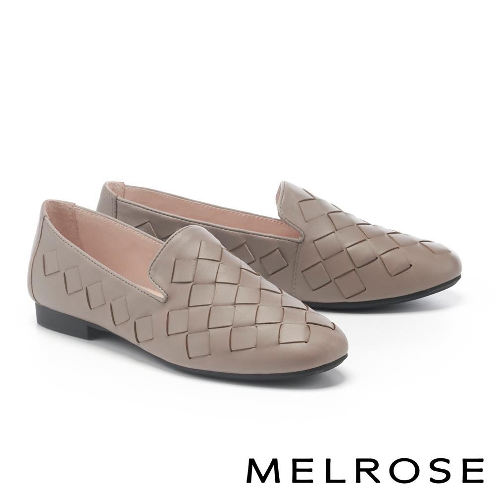 低跟鞋 MELROSE 別緻經典菱格編織羊皮樂福低跟鞋-米