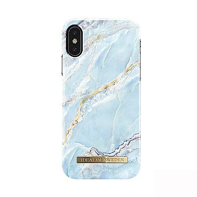 iDeal iPhone X/XS 瑞典大理石紋手機保護殼-加勒比海天藍金