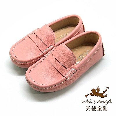 天使童鞋 荔枝紋牛皮豆豆懶人鞋(中-大童)E723B -粉