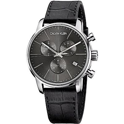 Calvin Klein CK City 都會紳士計時手錶-黑/43mm