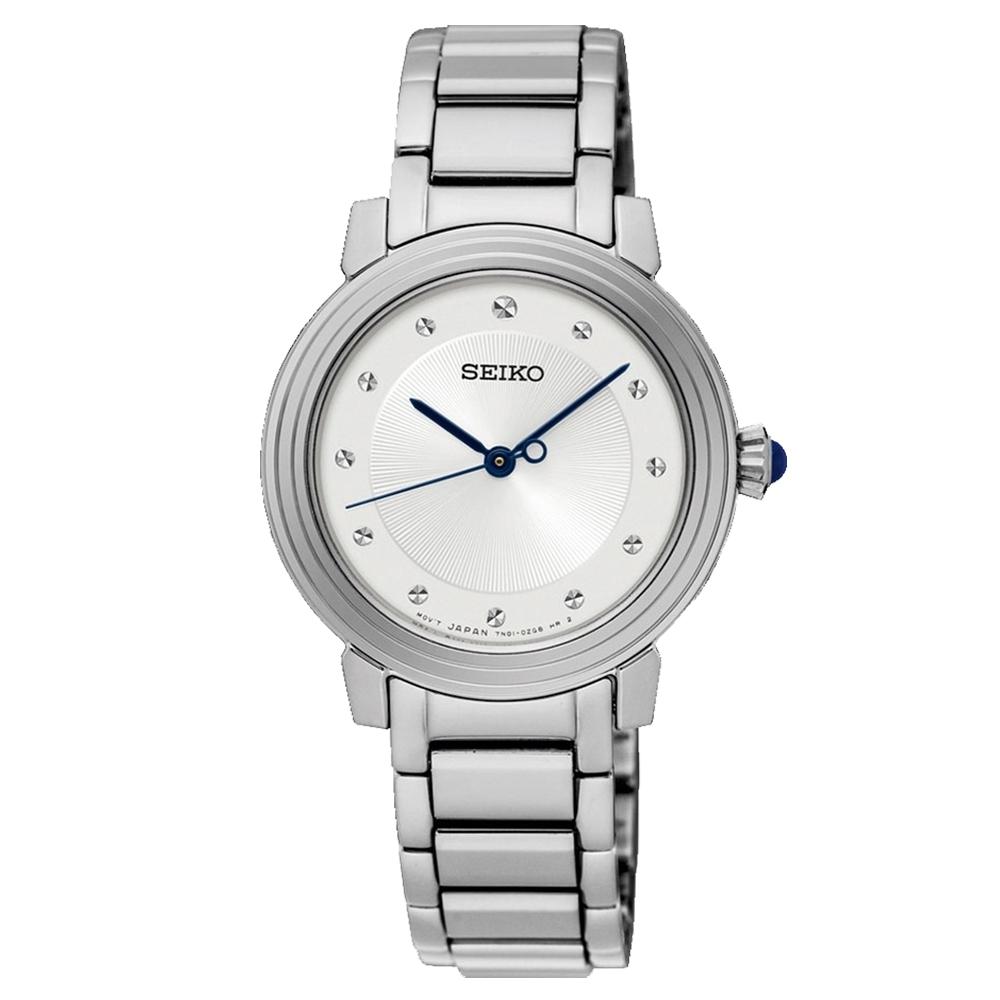 SEIKO精工   時尚優雅步伐水鑽石英女錶(SRZ479P1)-白x30mm