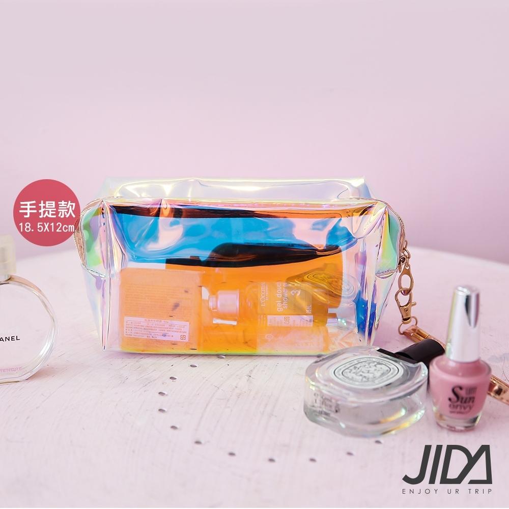 JIDA 網美款 雷彩TPU耐磨防水厚款半透盥洗包/化妝包(手提款) 18.5x12cm