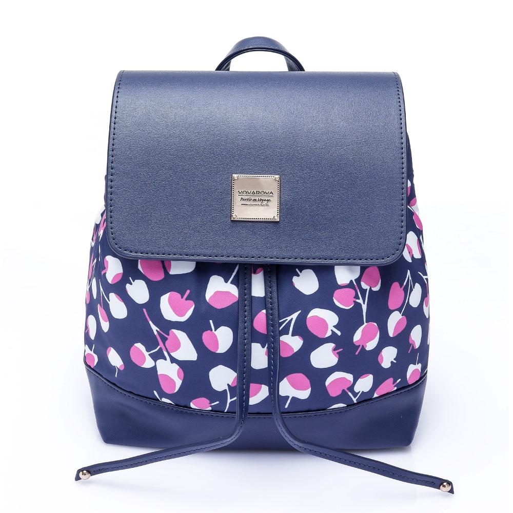 VOVAROVA空氣包-翻蓋束口後背包-Cherrypicks(Indigo&pink)