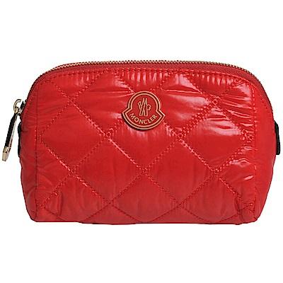 MONCLER 品牌立體字母LOGO菱格紋化妝包(紅) @ Y!購物