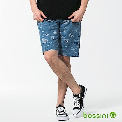 bossini男裝-休閒印花短褲02藍