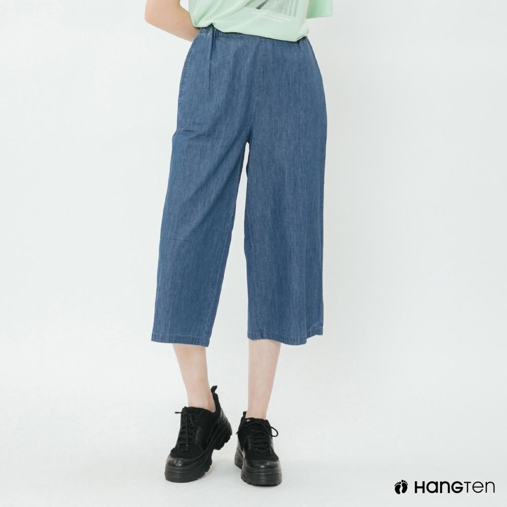 Hang Ten - 女裝 - 素面牛仔刷色造型寬褲 - 淺藍
