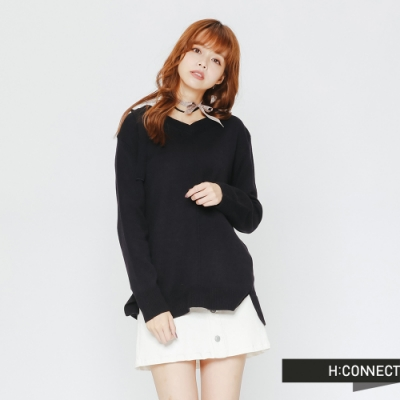 H:CONNECT 韓國品牌 女裝-後領口造型針織上衣-藍(快)