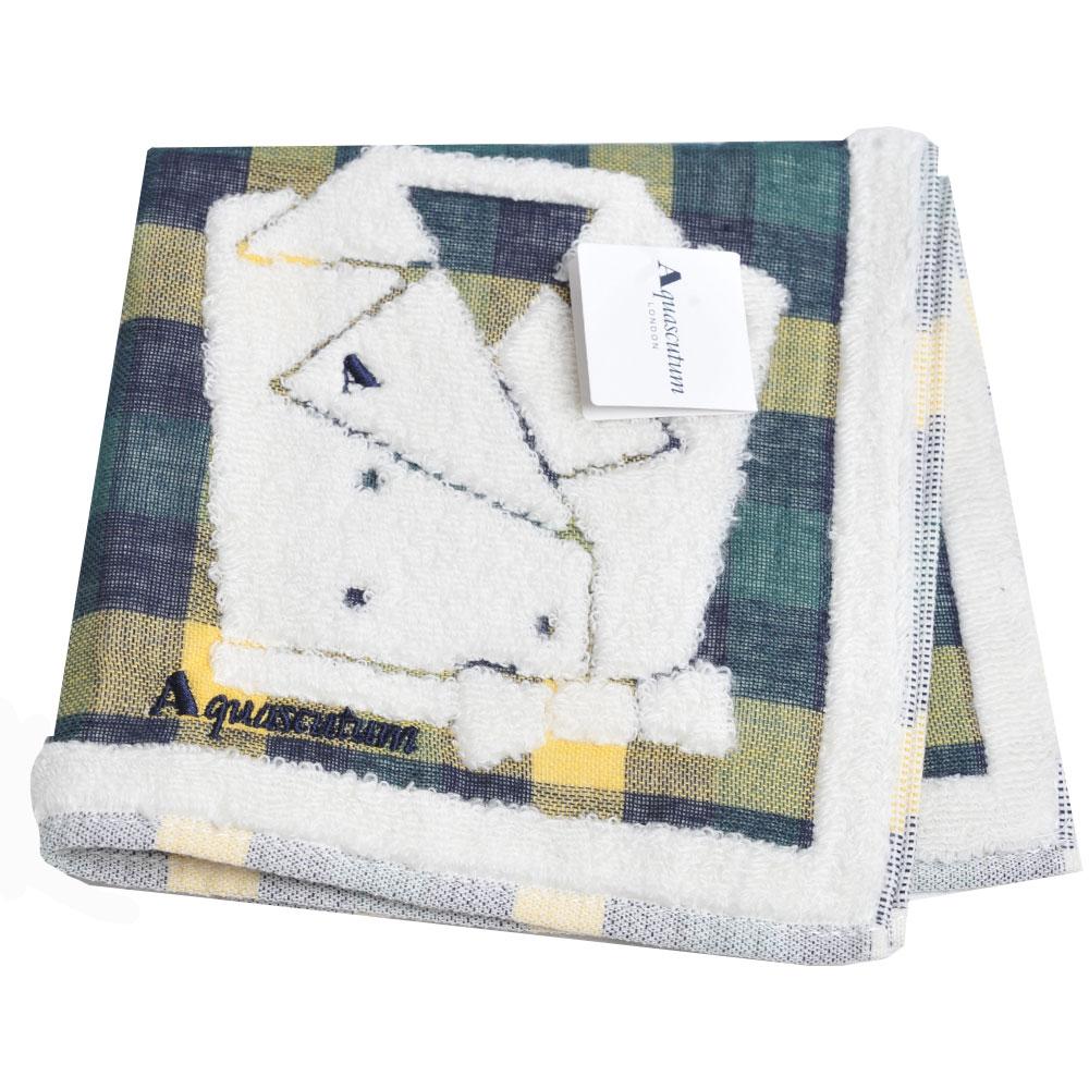 Aquascutum 經典品牌格紋風衣圖騰字母LOGO刺繡小方巾(綠黃格)